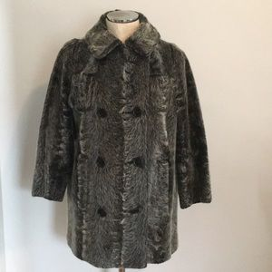 Vintage faux-fur pea coat